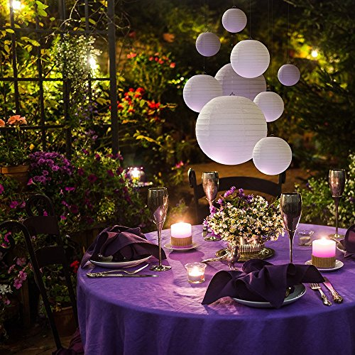 20 White Round Paper Lanterns for Weddings, Birthdays, Parties and Events - Assorted Sizes of 6'', 8'', 10'', 12'' (5 of Each Size) - by Avoseta by Avoseta (Image #1)'