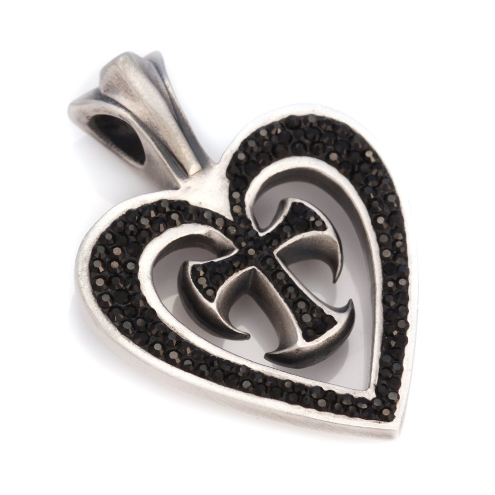 Bico Augusta Pave Pendant (PV4 Black) - my love is my strength - Swarovski Crystal Heart Jewelry