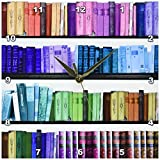 3dRose Colorful Bookshelf Books Rainbow Bookshelves Reading Book Geek Library Nerd Librarian Author Wall Clock, 10 by 10″ For Sale