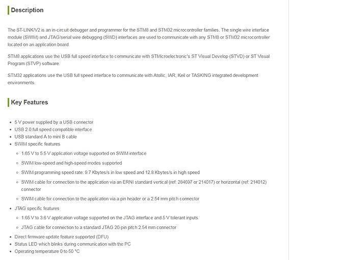 Amazon com: Waveshare ST-LINK / V2 STMICROELECTRONICS STM8