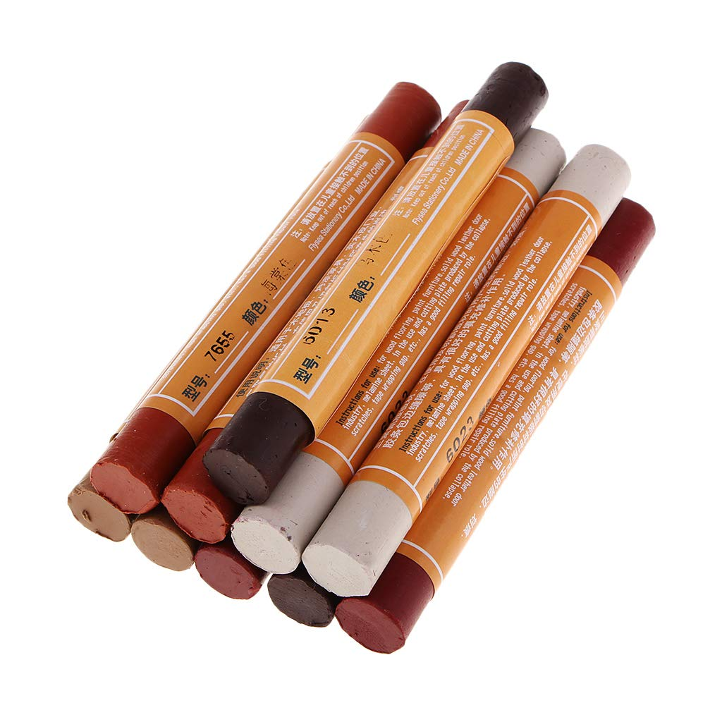 SM SunniMix 10 Pieces Wood Furniture Touch Up Markers Scratch Repair Crayons Wax Sticks Quickly Stains Wood Back to Its Natural Color -5 Colors