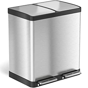 iTouchless 16 Gallon Dual Step Trash Can & Recycle, Stainless Steel Lid and Bin Body with Handle, Includes 2 x 8 Gallon (30L) Removable Buckets, Soft-close and Airtight Lid