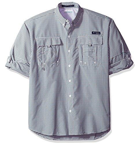 Columbia Men's Super Bahama Long Sleeve Shirt, Blue Heron Check, Small