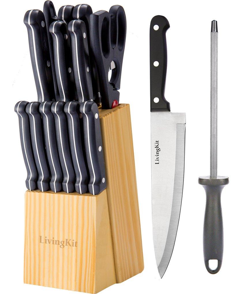 LivingKit K16004 Stainless Steel Kitchen Knife Set Block