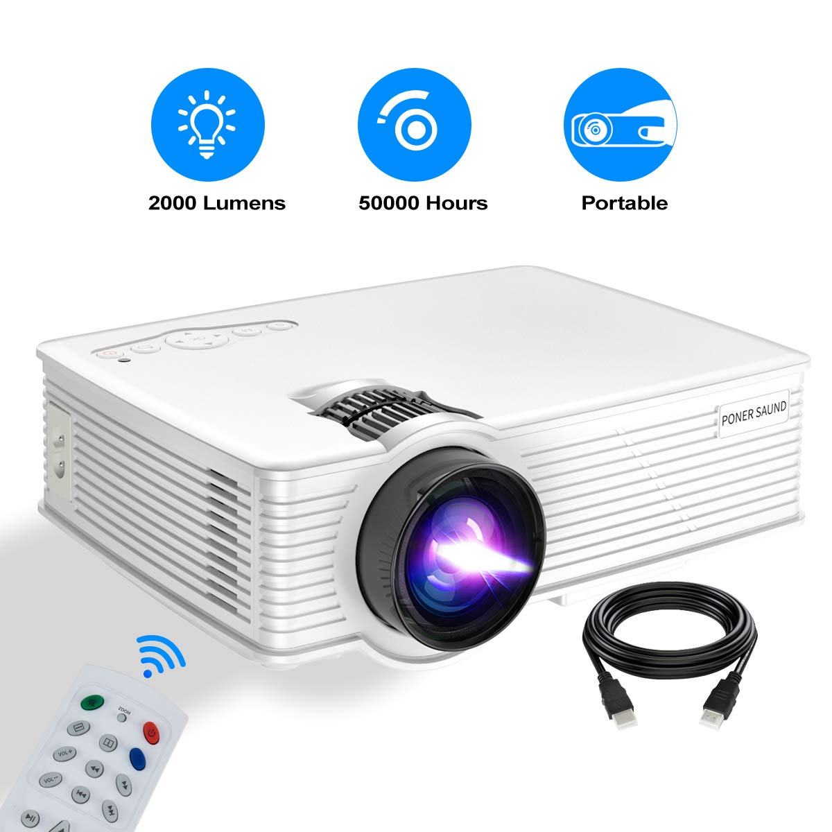 Mini Projector Portable, PONER SAUND GP9 Projector 2000 Lux LED Mini Projector, 1080P Supported Video Projector with 170'' LCD, Compatible with Ipad, Fire TV Stick, PS4, HDMI, VGA, TF, USB