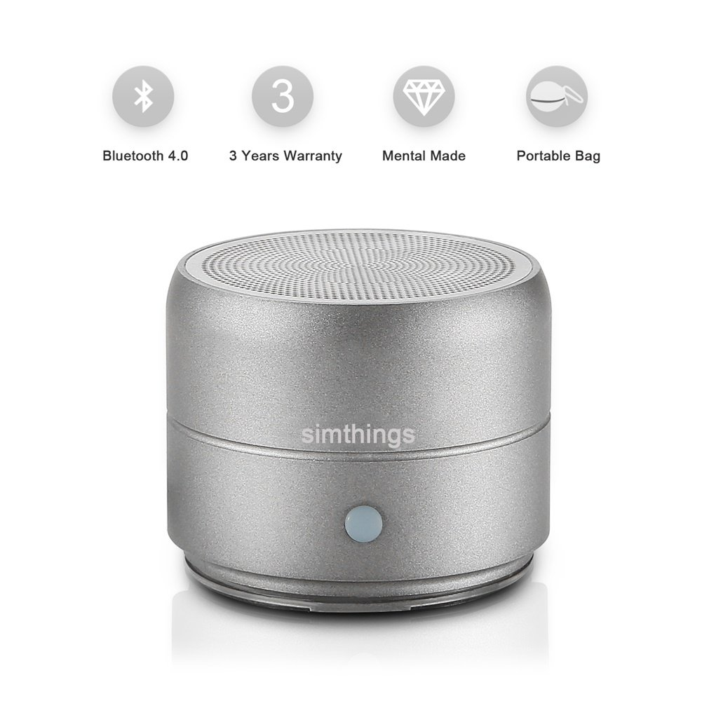 simthings Portable Mini Bluetooth Speaker Enhanced Bass, Stereo Sound Rechargeable Wireless Speakers Smart Phone/iPad/iPod, Caribiner Clip Hard Travel Bag Included