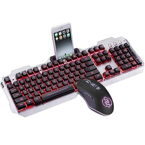 Guanwen Juego de Teclado y Mouse para Juegos, sensación mecánica 3 Colores retroiluminados Multimedia Teclado
