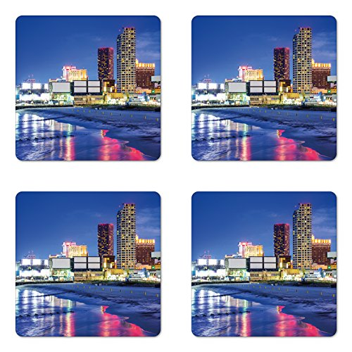 City Coaster Set of Four by Ambesonne, Resort Casinos on Shore at Night Atlantic City New Jersey United States, Square Hardboard Gloss Coasters for Drinks, Violet Blue Pink (Jersey Shore Themed Party)