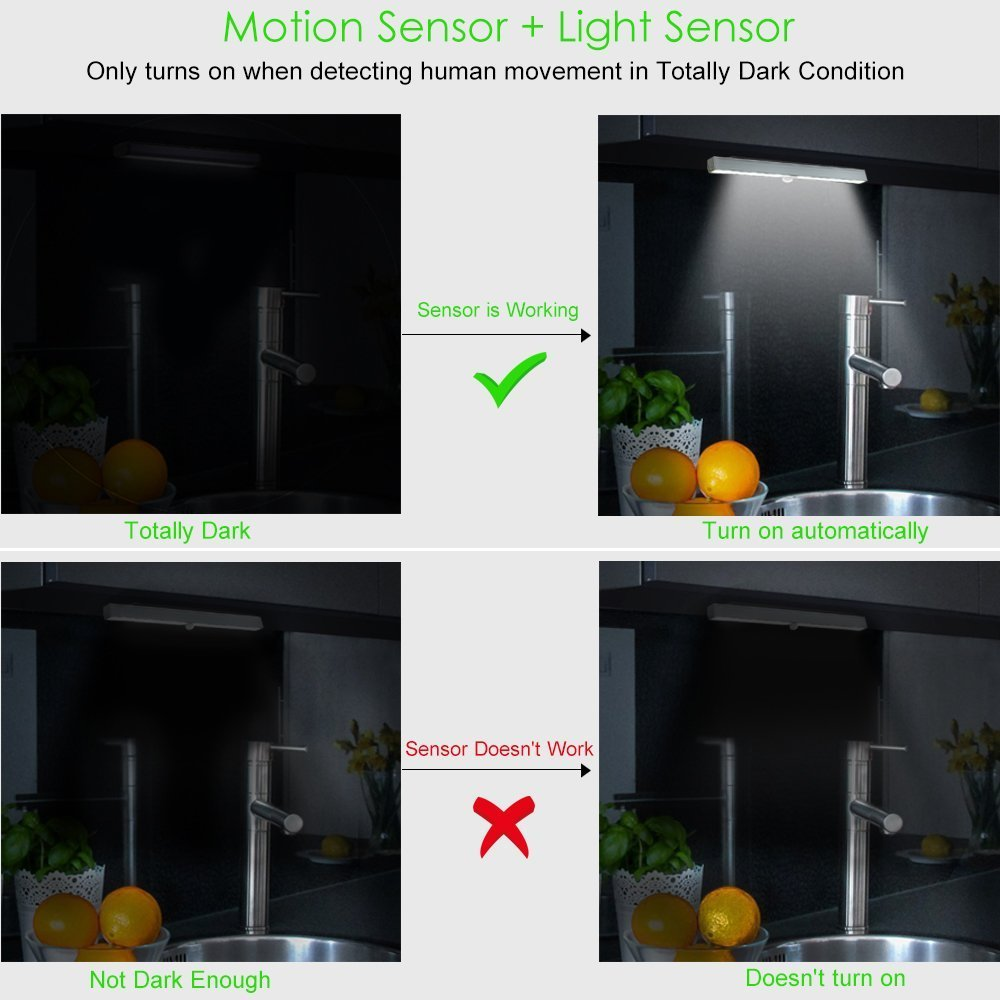 Amazon.com: Chicmore LED Closet Light, Wireless 20-LED Motion Sensor Under Cabinet Lights Battery Operated Night Lighting(2 Pack): Home & Kitchen