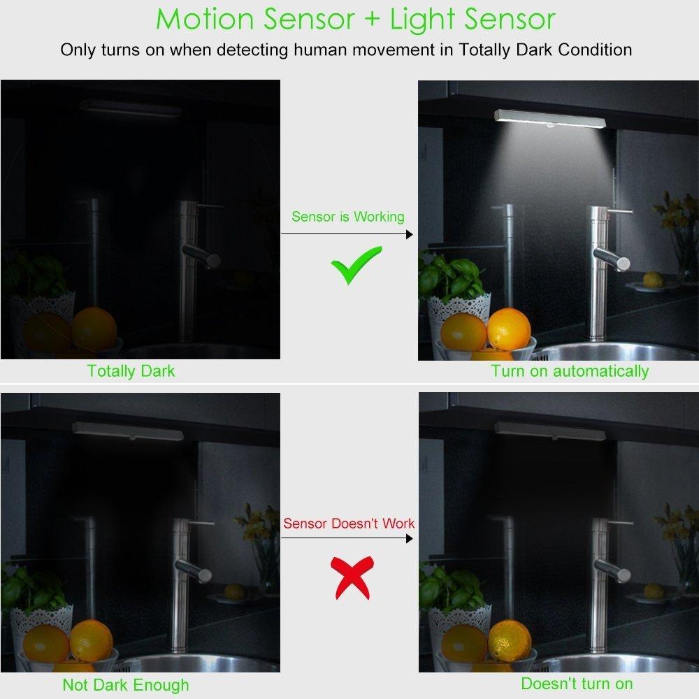 Amazon.com: Chicmore LED Closet Light, Wireless 20-LED Motion Sensor Under Cabinet Lights Battery Operated Night Lighting(2 Pack): Home & Kitchen