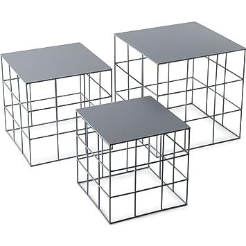 ATIPICO RETON quadratisch – Set von 3 Runde Tische Farbe Asche ...
