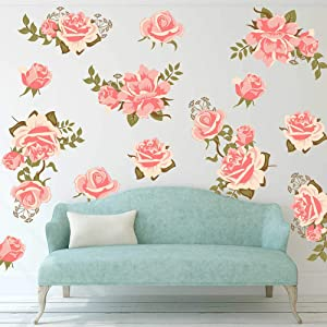 decalmile Pink Rose Flower Wall Decals Removable Wall Stickers Art DIY Home Decor Bedroom Living Room Decoration