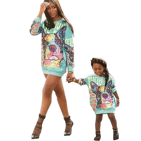 JEELINBORE Familia Vestidos, Casual Sudadera Pullover Largo Estampado Vestido Camiseta de Manga Larga para Madre