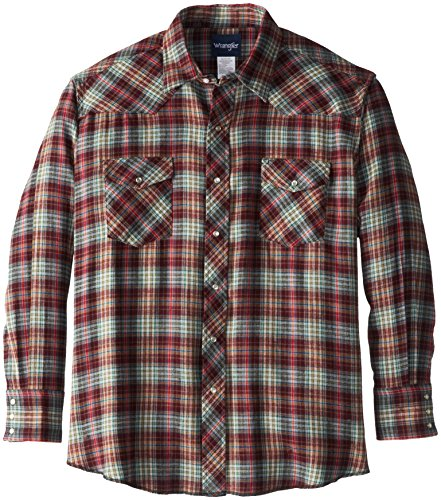Wrangler Men's Big Western Flannel Shirt Lightweight, Plaid, - Shirt Flannel Plaid Big