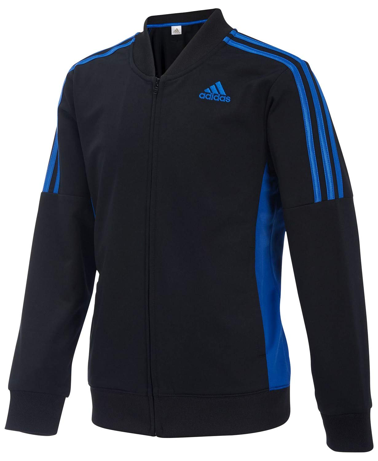 adidas Boys Athletic Linear Jacket ((Large 14/16), Black/True Blue)