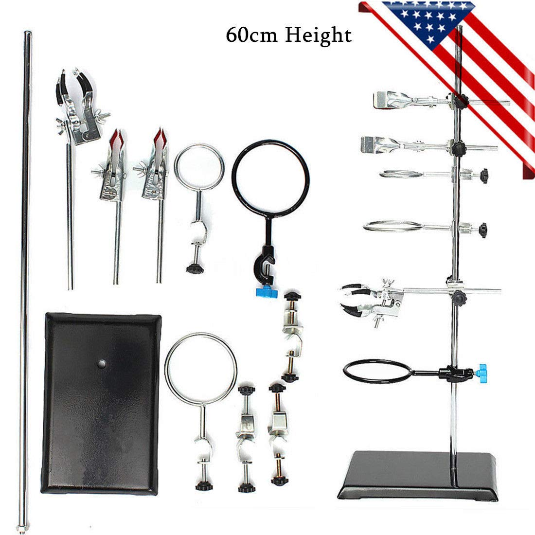 60CM Laboratory Support Stands Flask Clamp Condenser Pipe Holder, Iron Chemistry Lab Flask Support Research Starter Kit + 9 Clips, USA Stock by MONIPA-US