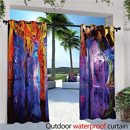 warmfamily Natural Cave Exterior/Outside Curtains Algarve Coast Cliffs for Patio Light Block Heat Out Water Proof Drape W72 x L96