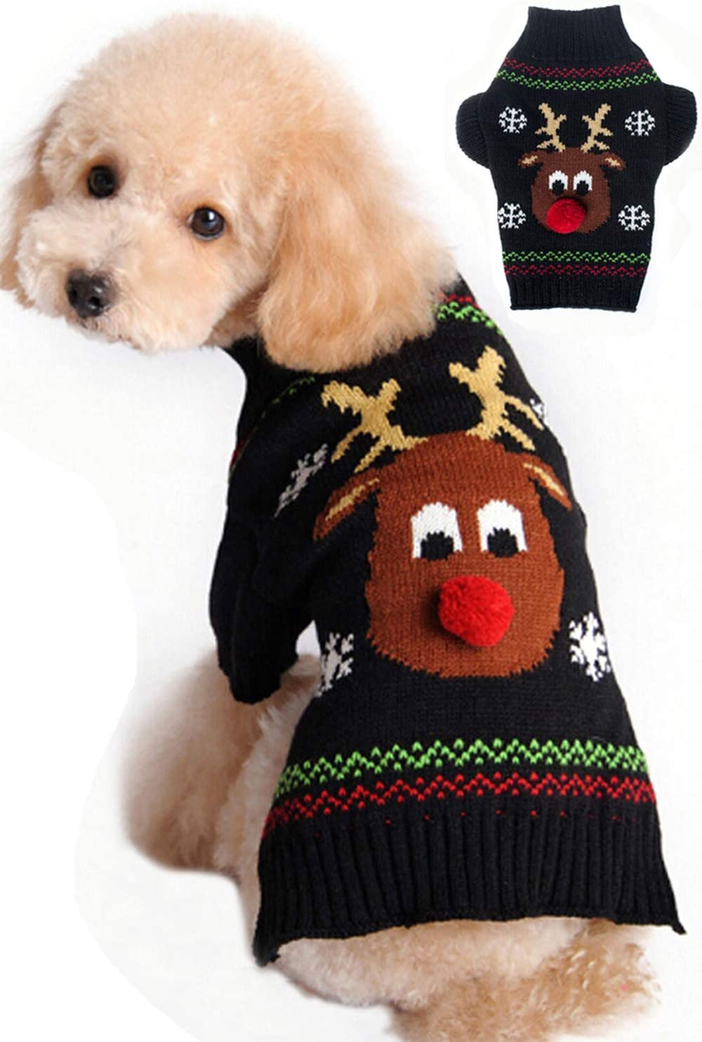 Amazon Com Bobibi Dog Sweater For Christmas Cartoon Reindeer Pet Cat Winter Knitwear Warm Clothes Medium Kitchen Dining