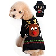 BOBIBI Dog Sweaters Christmas Cartoon Reindeer Pet Cat Winter Knitwear Warm Clothes