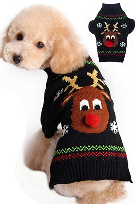 09ddfe9d8 BOBIBI Dog Sweater for Christmas Cartoon Reindeer Pet Cat Winter Knitwear Warm  Clothes Medium