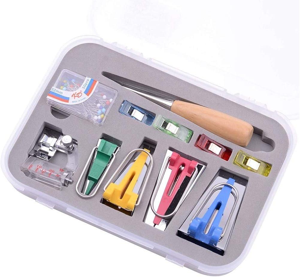 DIY Sewing Bias Tape Makers for Quilting Binding Tool Set 6MM//12MM//18MM//25MM Tool Box Set Fabric Bias Tape Maker Folder Kit