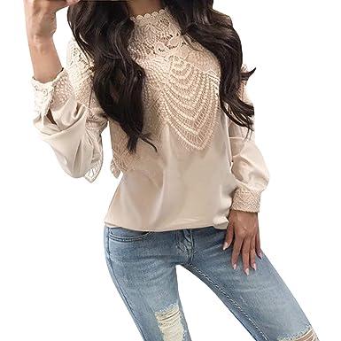 Dentelle À Top Femme Rond Manches Longues Col En Laemilia Fashion WDI92EYH
