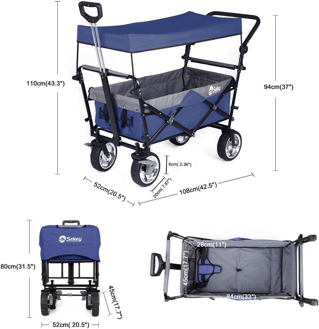 Sekey Carrito Plegable con Techo extra/íble para la Playa para Transporte para Exteriores Carrito para Exteriores para el jard/ín Azul para Cualquier Terreno