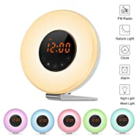 Wake Up Light Sunrise Alarm Clock Simulation [2017 Upgraded] with 6 Nature Sounds and FM Radio 7 Color Dimmable Atmosphere Light Touch Control Bedside Nightlight Reading Lamp by JINGOU