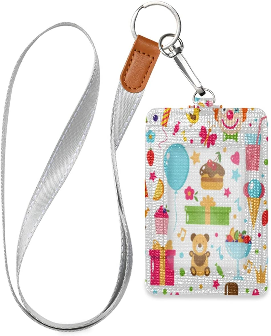Cake Gift Clown Toy Sweets Fruits Food Id Badge Holder Leather Vertical Cute Card Badge Holder for Work Office School Id Credit Metro Access Cards