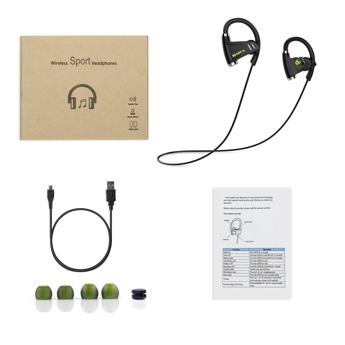 /Écouteurs Bluetooth 4.1 Sports /Écouteurs Noir Intra-Auriculaires avec Microphone CVC6.0 antibruit // Mains libres//IPX6 BARA E3 Sans Fil St/ér/éo Oreillettes