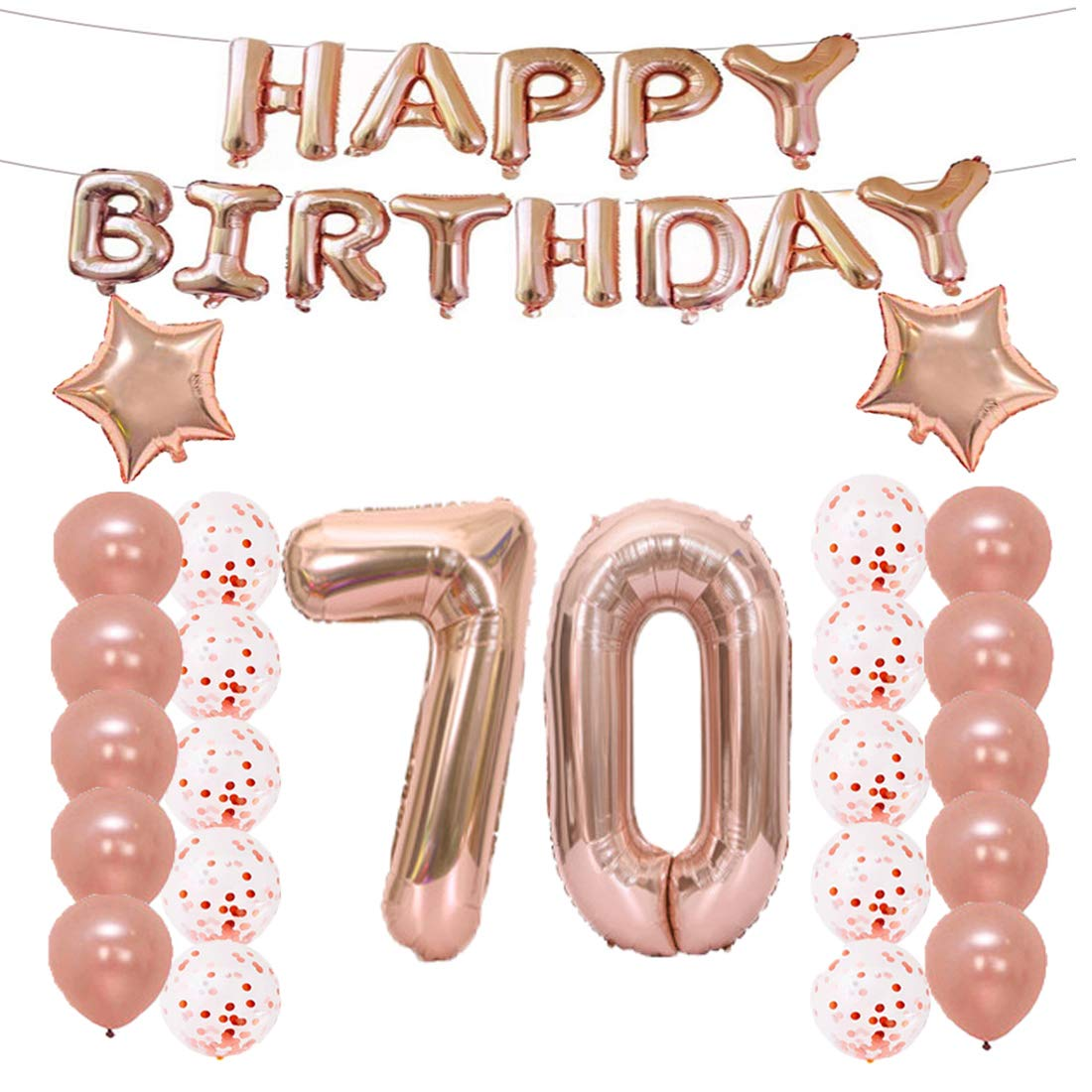 70th Birthday Decorations Party Supplies70th Balloons Rose GoldNumber 70 Mylar BalloonLatex Balloon DecorationGreat Sweet Gifts