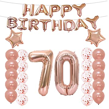 70th Birthday Decorations Party Supplies70th Balloons Rose GoldNumber 70 Mylar Balloon