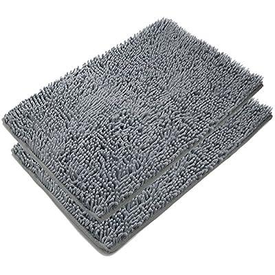 VDOMUS Absorbent Microfiber Bath Mat Soft Shaggy Bathroom Mats Shower Rugs - 2 Pieces