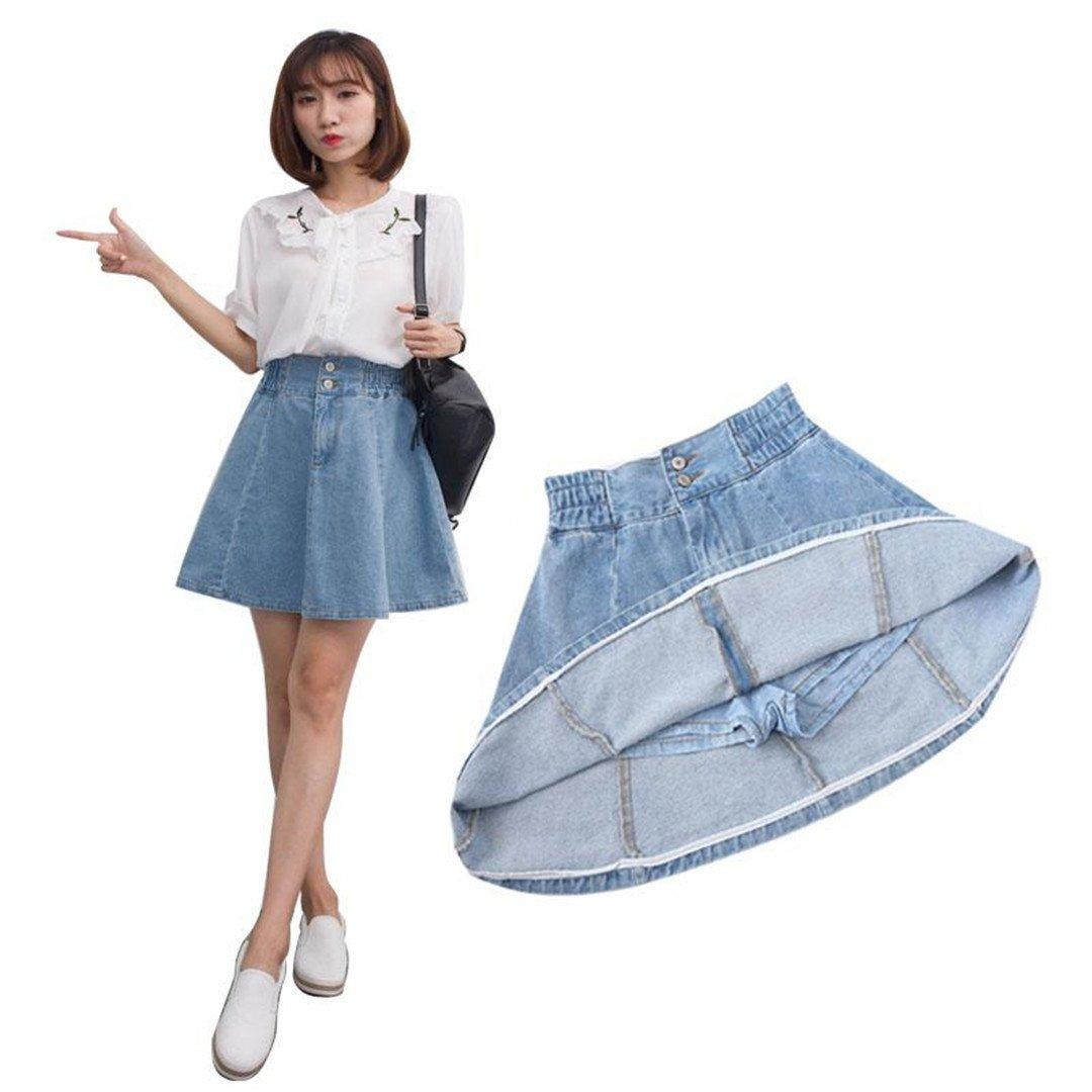 Erongeoneg Denim Skirt Plus Size 3XL Kawaii Jeans Runway A Line Blue Denim Skirt Women Cotton Skirt High Waist Soft Skirt