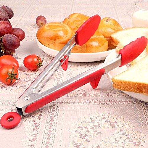 Take Food Tongs Set Stainless Steel Silicone Kitchen Tongs with Elevated Stand Non-Stick Barbecue (BBQ) Tong 12