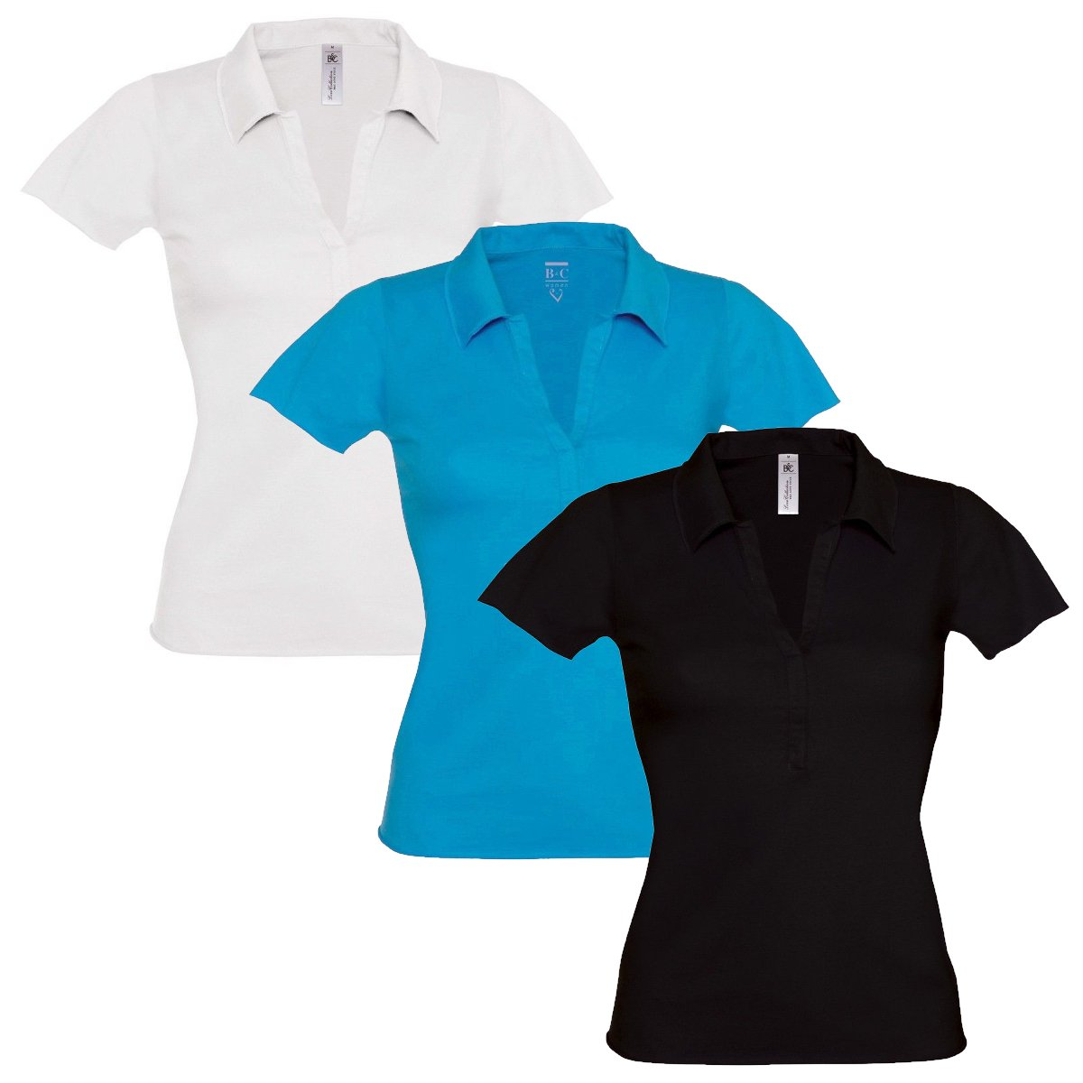 Womens Ladies Polo T Shirt V Neck Short Sleeve Top Open Collar Fitted Fashion UK BC-LOVESPICE