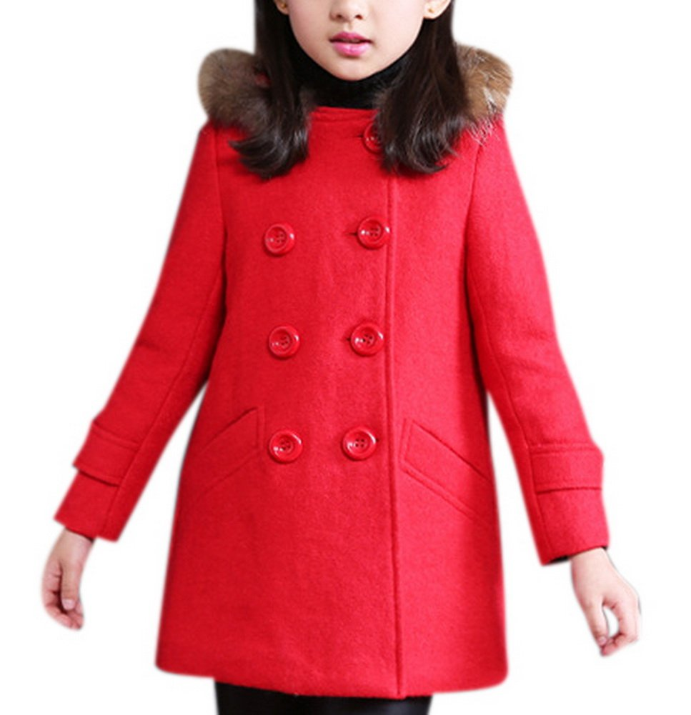 Girl's Cute Double Breasted Wool Short Dress-coat Warm Thick Outwear with Fur Trim Hood 140 Red