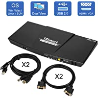 TESmart KVM Switch HDMI VGA Dual Monitor 4K 30 Hz Ultra HD 2 PC In 2 Port HDMI VGA Out with IR Remote Support L/R Audio Microphone USB 2.0 Device with 2pcs HDMI KVM Cables