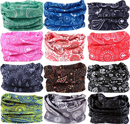 VANCROWN Headwear Head Wrap Sport Headband Sweatband 220 Patterns Magic Scarf 12PCS & 6PCS 12 in 1 (12PCS.Paisley)