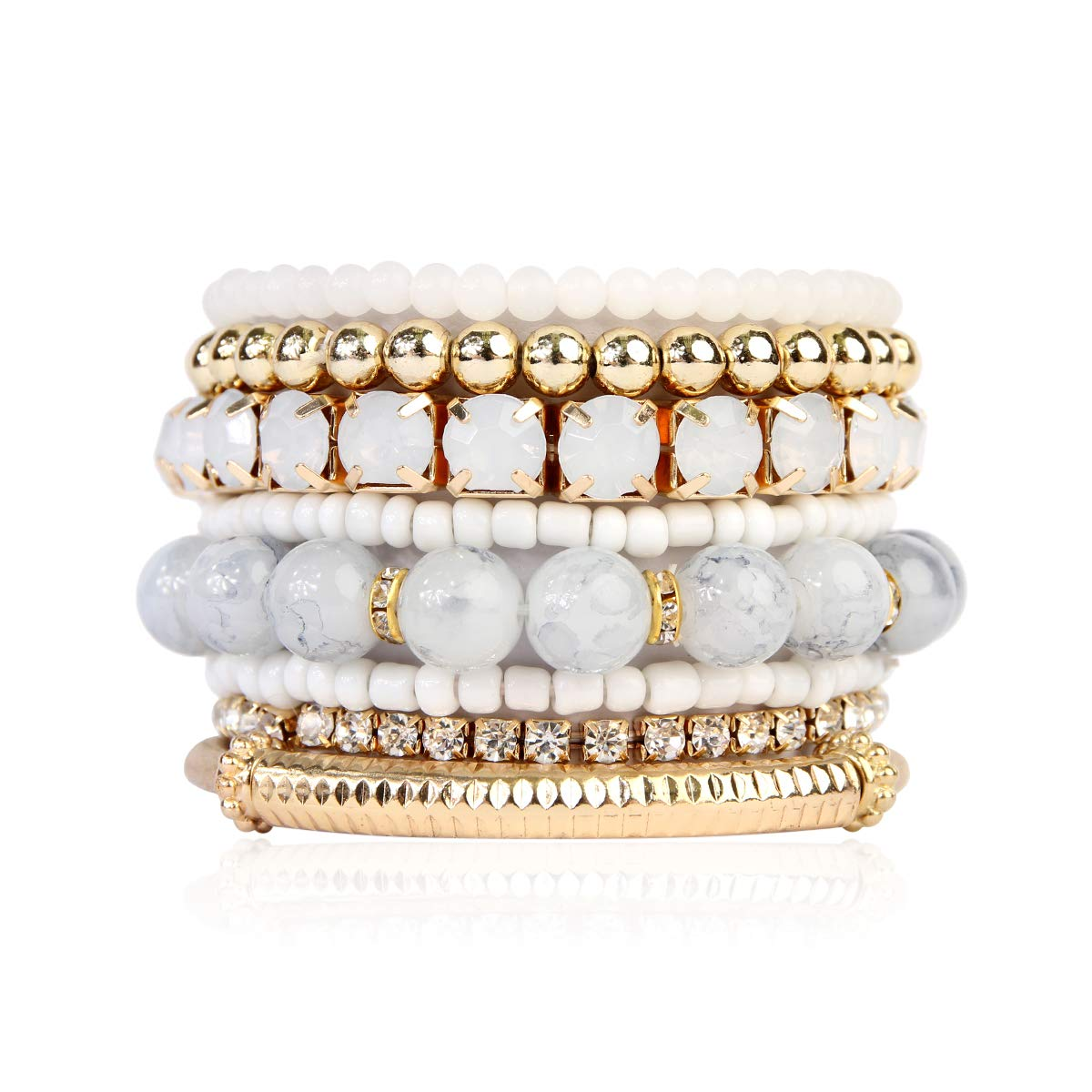 RIAH FASHION Multi Color Stretch Beaded Stackable Bracelets - Layering Bead Strand Statement Bangles (Original - Natural, 7) by RIAH FASHION