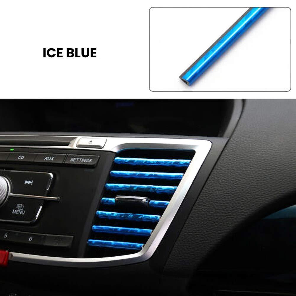Everrich 10 Pcs Car Interior Moulding Trim Car Air Conditioning Air Outlet Colorful Film Car Interior Exterior Decoration Seal Strip Strip Line Rainbow
