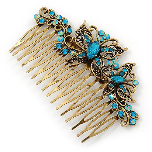 UPC 634558776591, Vintage Inspired Teal Blue Swarovski Crystal 'Butterfly' Side Hair Comb In Antique Gold Tone - 105mm