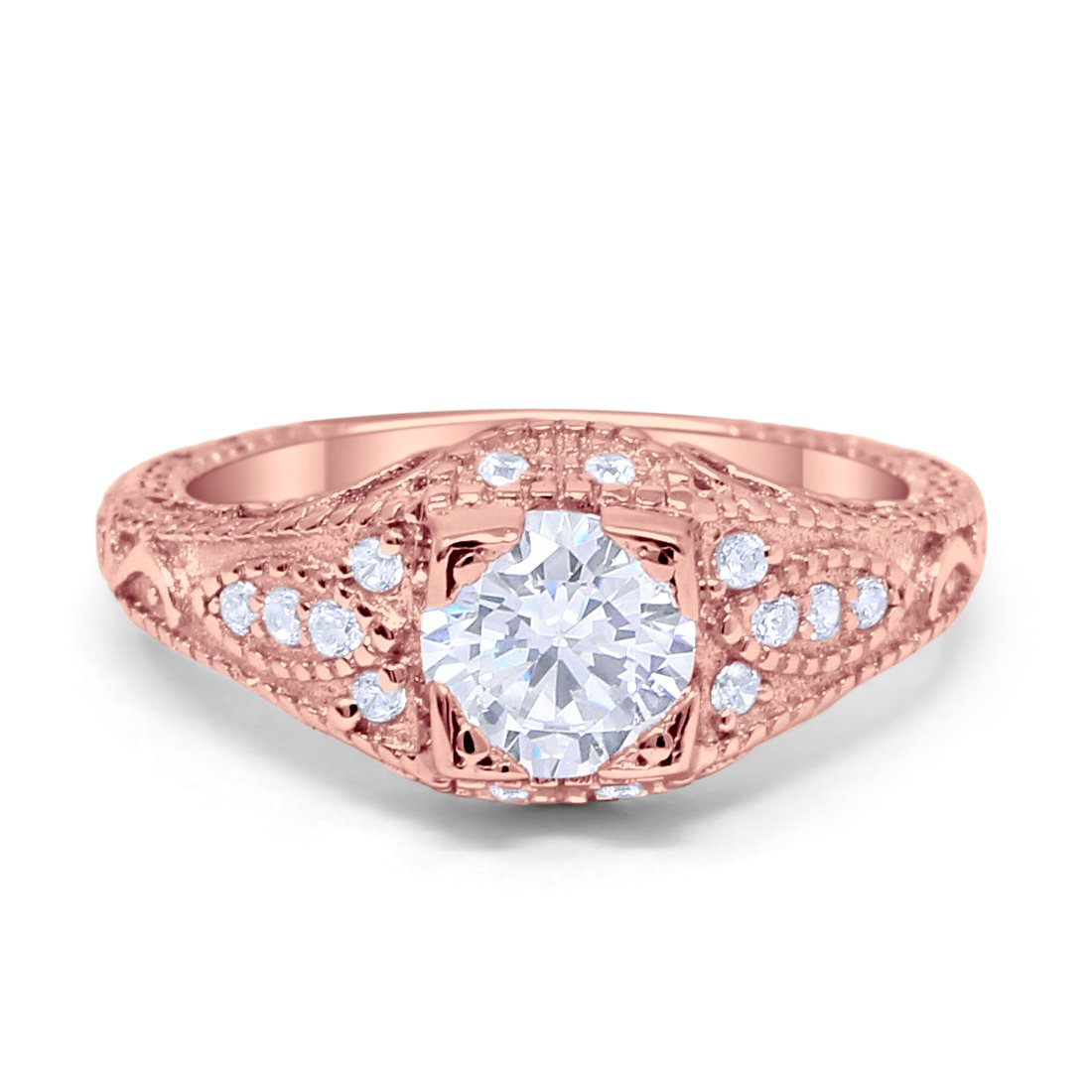 Vintage Art Deco Design Solitaire Wedding Engagement Ring Round CZ ...