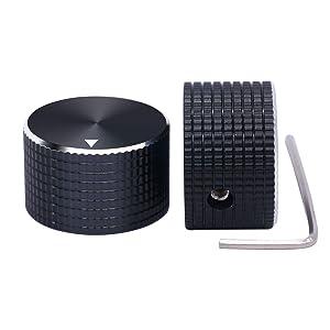 "Taiss / 2Pcs 25 mmx15 mm 6.4mm / 0.25"" Black Aluminum Rotary Electronic Control Potentiometer Knobs"