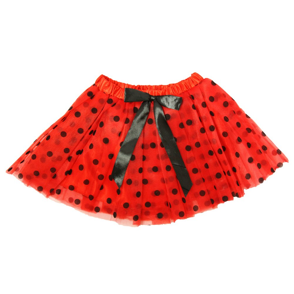 Little Girls Red Black Polka Dots Satin Elastic Waist Ballet Tutu Skirt 2-8Y Dress Up Dreams Boutique