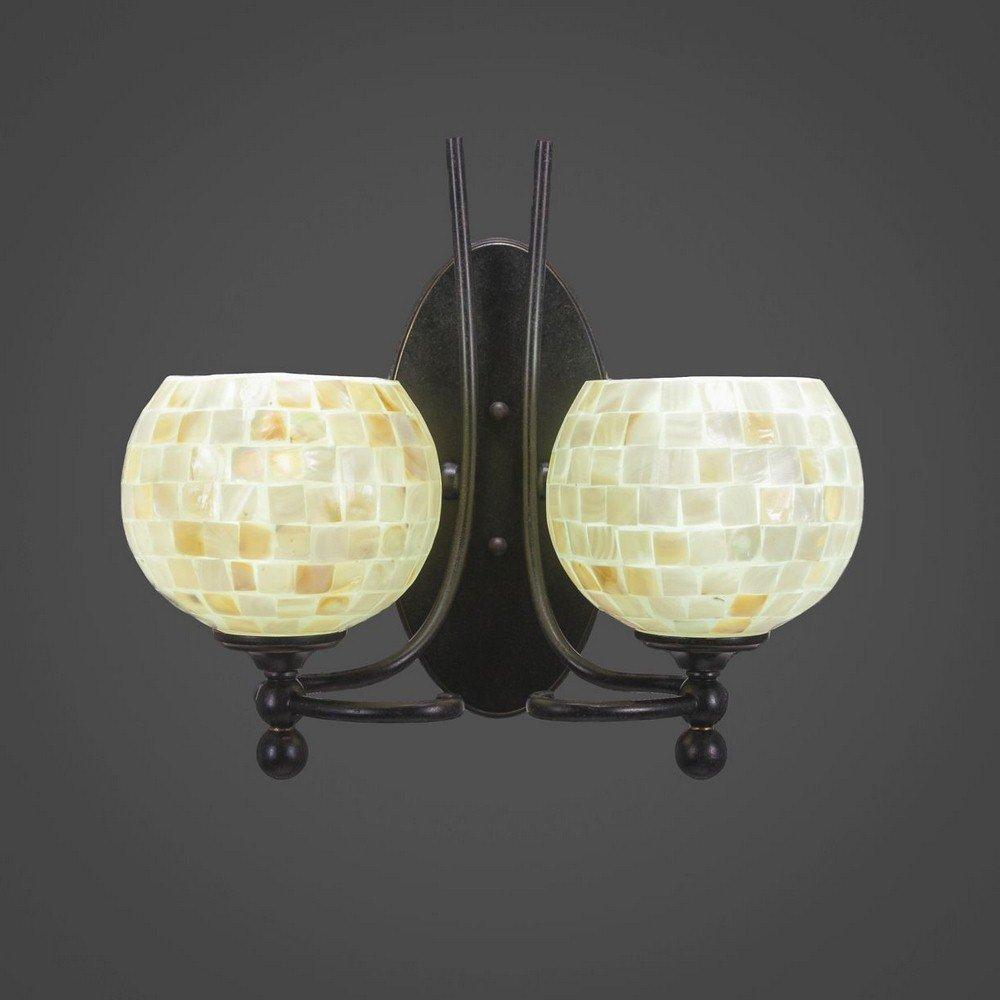 Toltec Lighting 590-DG-405 Capri - Two Light Wall Sconce, Dark Granite Finish with Mystic Seashell Glass
