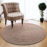 Carpet rug Modern minimalist pattern bedroom Living room floor mat Thickened doormats Non-slip design pattern Cotton ( Color : Brown , Size : Diameter 100 cm )