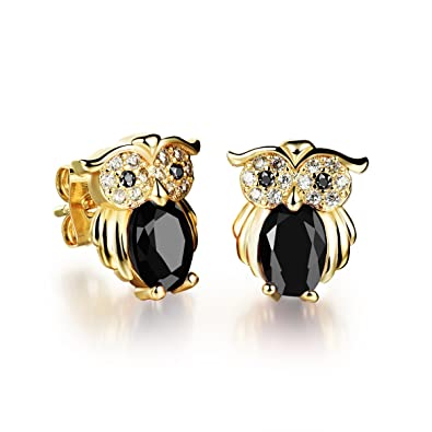 5df73b0ec Nice female owl shape black color zircon stud earrings for girls or women