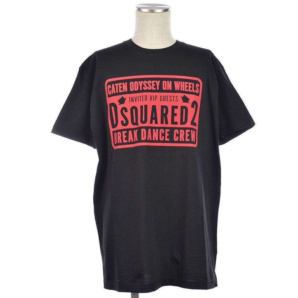 DSQUARED2 ディースクエアード Break Dance Crew プリント Tシャツ カットソー 2018秋冬新作 B07FTJPHFT XL|ブラック ブラック XL