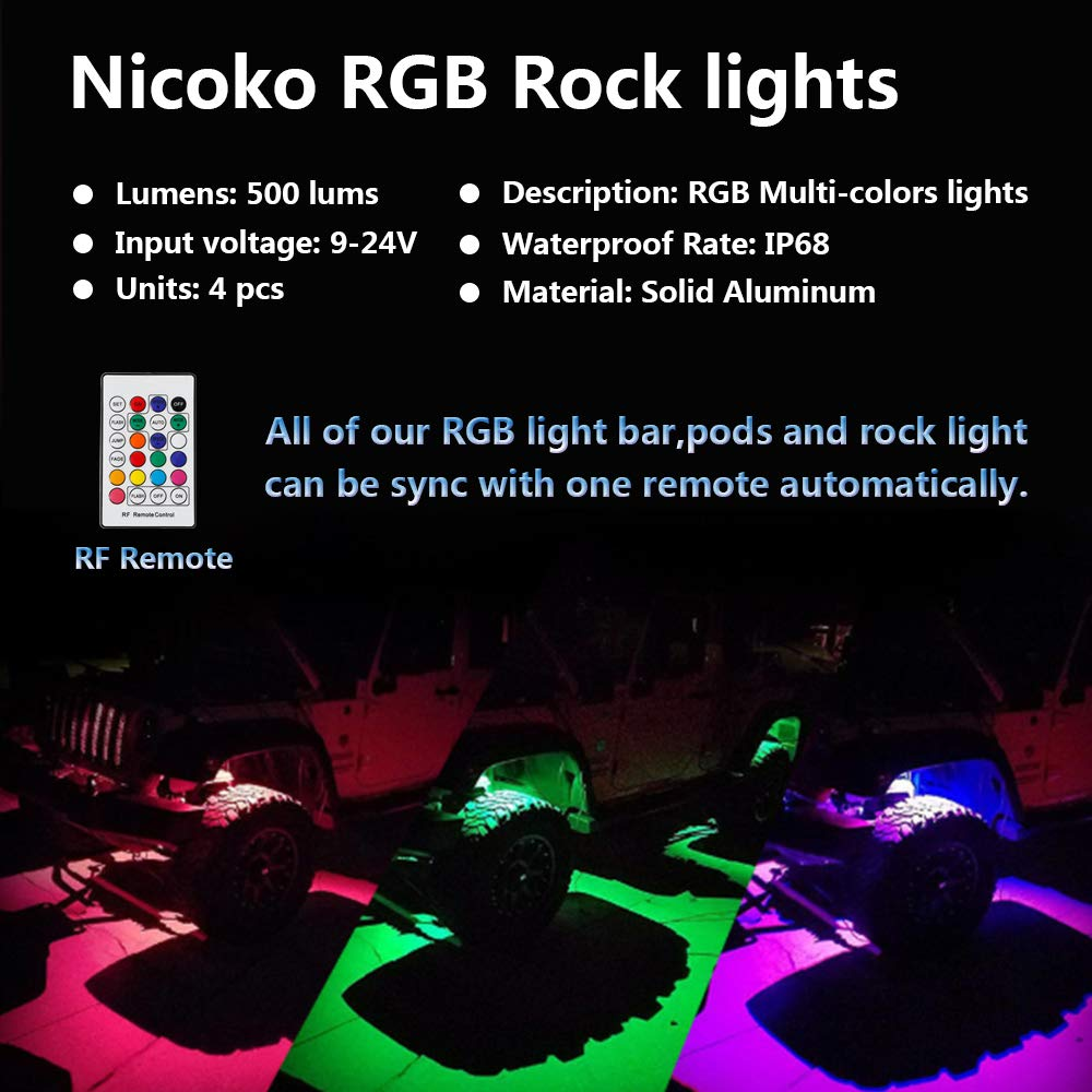 Nicoko Pods Lights Rgb Led Rock Light Kits With Remote Control 10 Wiring Solid Colors Many Flashing